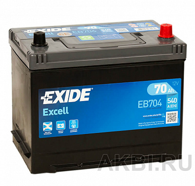 Exide Excell 70R (540A 261x173x225) EB704