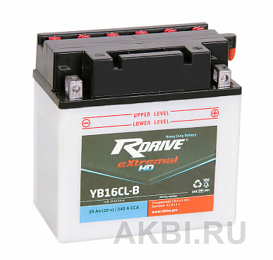 RDrive eXtremal HD YB16CL-B 20 ач обр. 240А (175x100x175) Heavy Duty AGM сухозаряж.