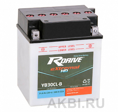 RDrive eXtremal HD YB30CL-B 30 ач обр. 300А (165x130x192) Heavy Duty AGM сухозаряж.