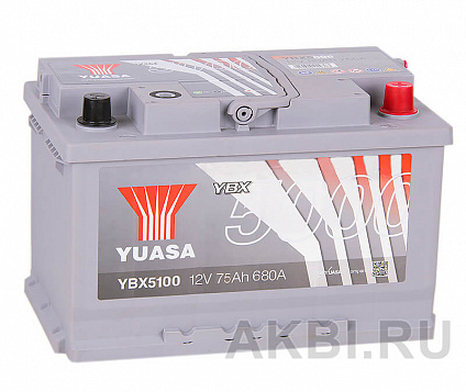 YUASA YBX5000 75R (680А 278x175x175) Silver High Performanse YBX5100