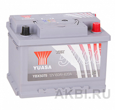 YUASA YBX5000 60R низкий (620А 242x175x175) Silver High Performanse YBX5075
