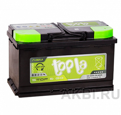 Topla AGM Stop Go 80R (800A 315x175x190) 114080 Start-Stop