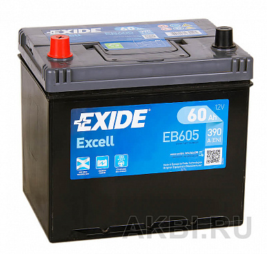 Exide Excell 60L (390A 230x172x220) EB605