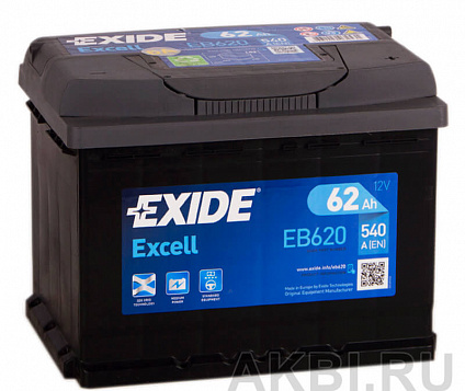 Exide Excell 62R (540A 242x175x190) EB620