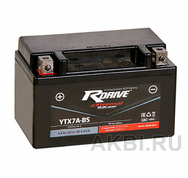 RDrive eXtremal SILVER YTX7A-BS 6 ач прям. пол. 90А (150x87x93) YTX9-BS/ GTX7A-BS/ 12N7E-B сухоз.