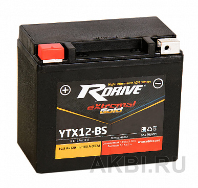 RDrive eXtremal GOLD YTX12-BS 10 ач AGM прям. пол. 180А (150x87x130) YTX14BS / YT12B-BS / YTX12H-BS